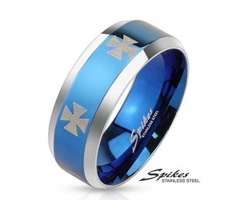 R-M3659 Мужское кольцо синего цвета из стали (