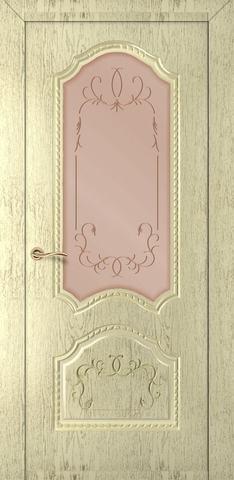 Дверь Румакс Премиум ДО, стекло сатинат бронза гравировка, цвет слоновая кость , остекленная