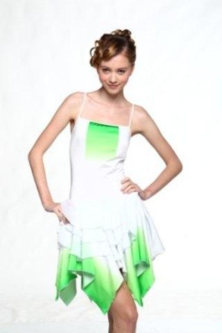 Платье, рост 164-170 см (белый, лайм)