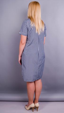 Ирина. Платье-рубашка больших размеров. Синяя клетка.