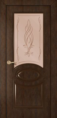 Дверь Румакс Престиж ДО, стекло сатинат бронза гравировка, цвет каштан, остекленная