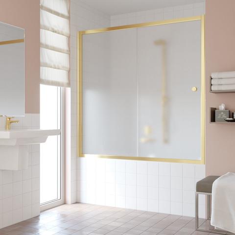 Шторка на ванну Vegas Glass ZV профиль золото, стекло сатин