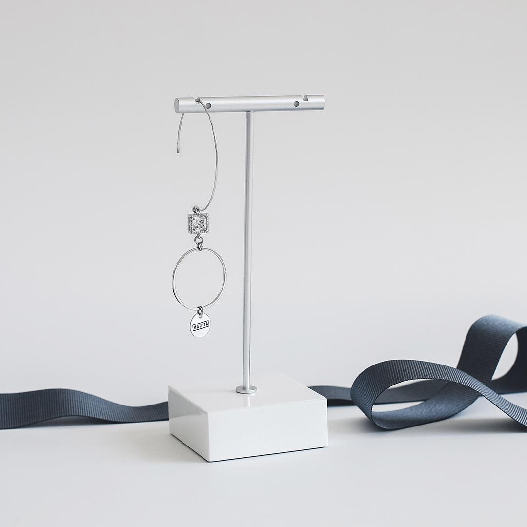 Моносерьга «дуга» с квадратным фианитом и кольцом  оптом и в розницу