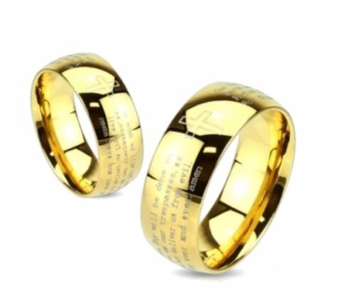 Мужское стальное кольцо золотого цвета с молитвой («Spikes»)