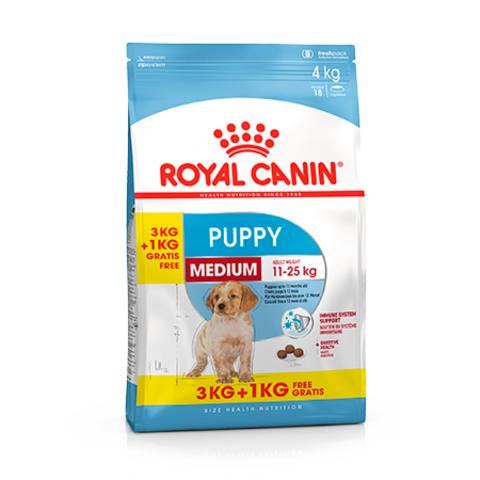 ПРОМО!Royal Canin Medium Puppy сухой корм для щенков средних пород 3+1кг