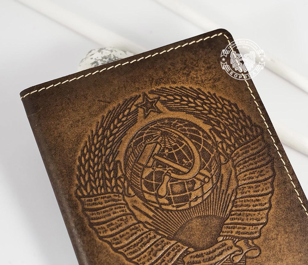 BY14-25-01 Обложка на паспорт ручной работы «СССР» фото 02