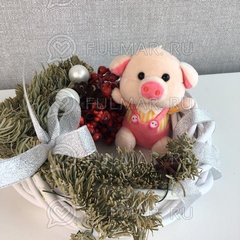 Поросёнок брелок Мистер Хрю символ 2019 года свинья (жёлтый-розовый)