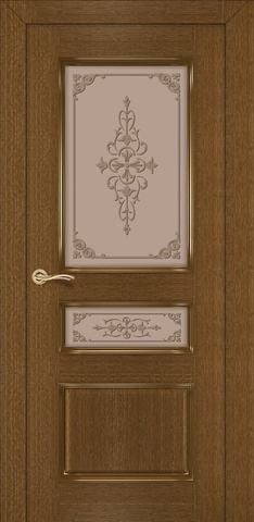Дверь Румакс Трио ДО, стекло матовое с рисунком, цвет ольха, остекленная
