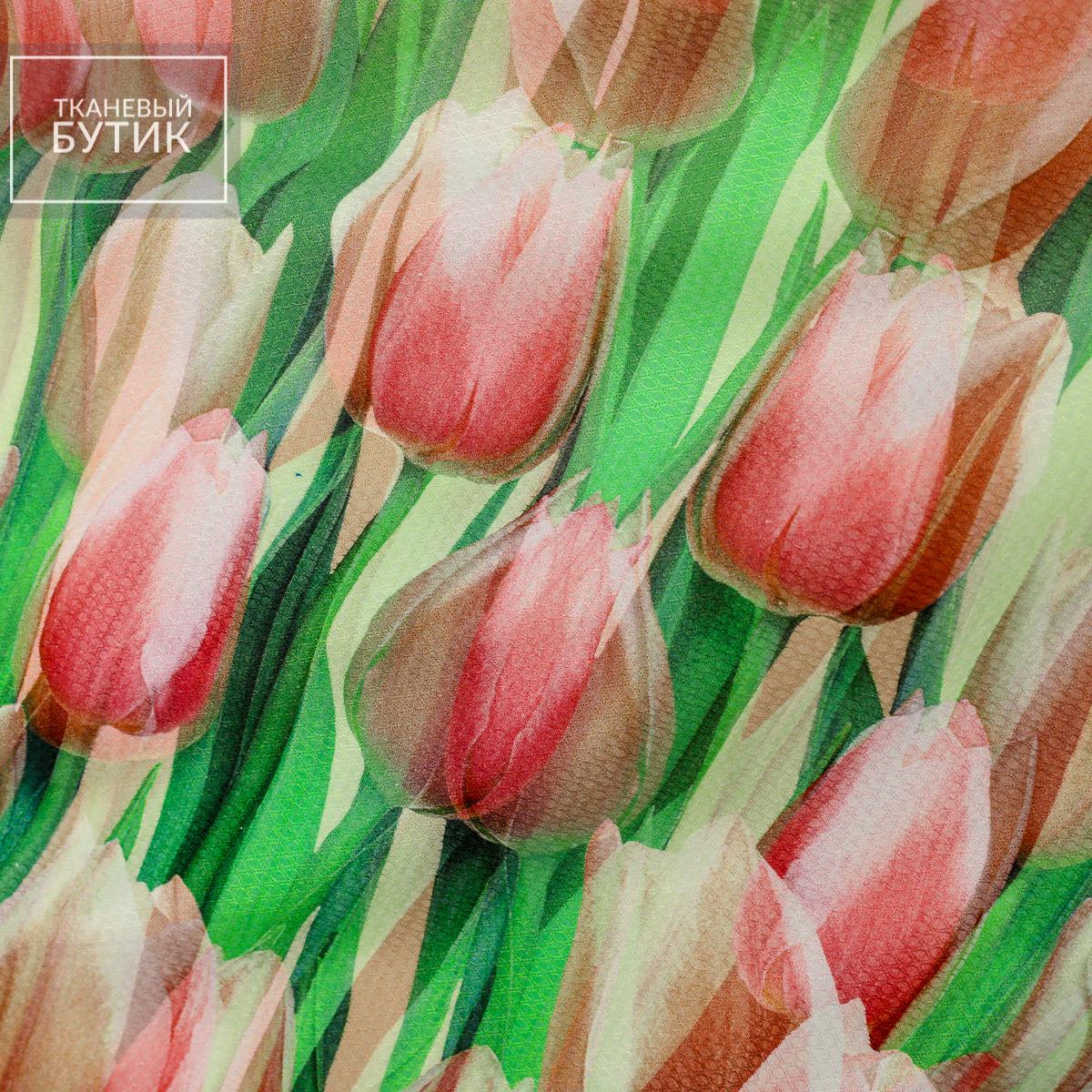 Розовые тюльпаны на фактурном хлопке