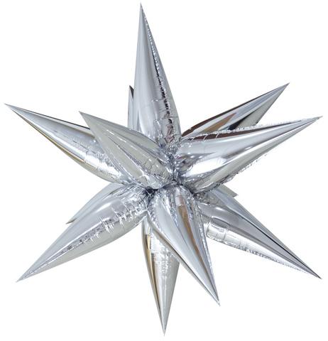 Звезда объемная 3D, серебряная, 66 см