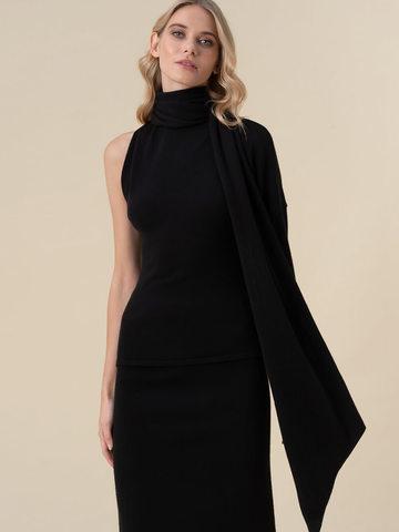 Женский джемпер черного цвета с открытым плечом и 100% кашемира - фото 4