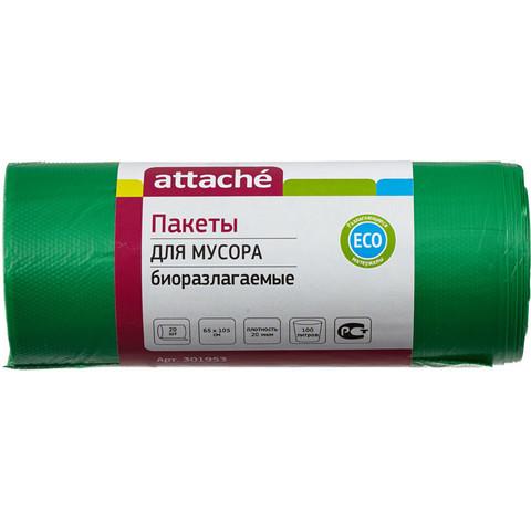 Мешки для мусора ПНД 100л 65x105см 20мкм зеленые 20шт/рул биоразлаг Attache