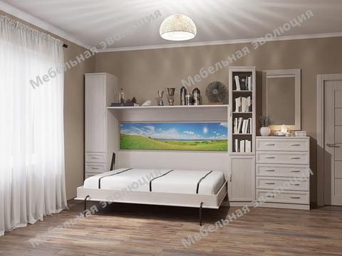 Спальня с горизонтальной двуспальной кроватью