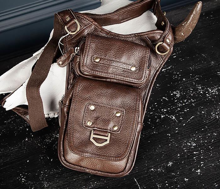 BAG514-2 Набедренная сумка из коричневой натуральной кожи