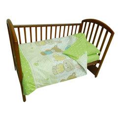 Папитто. Комплект постельного белья с простыней на резинке Игрушки из перкаля, салатовый