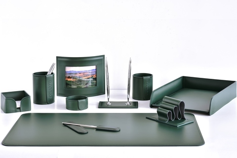 Настольный набор 10 предметов из кожи цвет зеленый