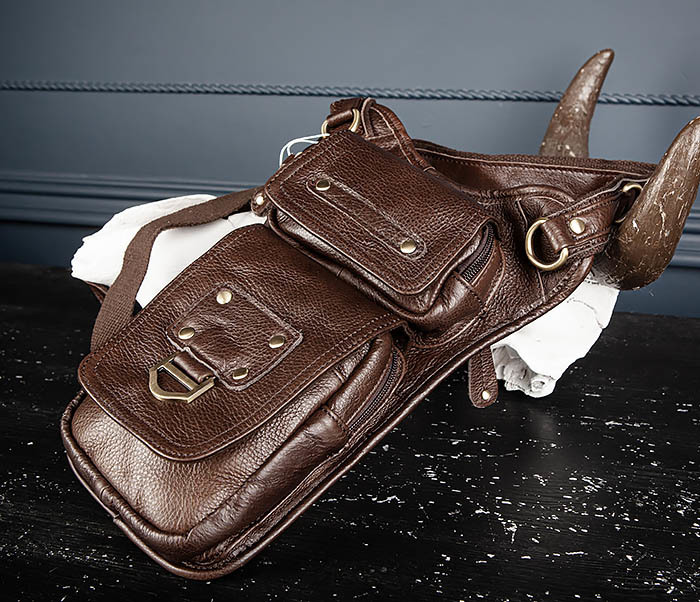 BAG514-2 Набедренная сумка из коричневой натуральной кожи фото 02