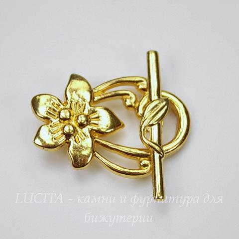 """Замок - тоггл из 2х частей """"Цветок лилии"""" 30х20 мм, 30х5 мм (цвет - золото)"""