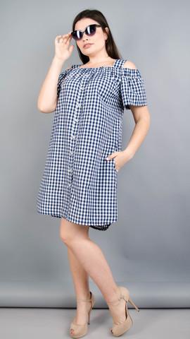 Клариса. Красивое платье-рубашка плюс сайз. Синяя клетка.