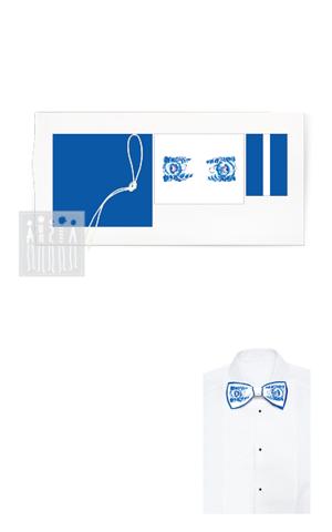 Фото Галстук - бабочка с Гжельской росписью ( цвет белый ) ( комплект для пошива ) рисунок Хотите сшить народный костюм своими руками? Мастерская Ангел предлагает наборы и выкройки для самостоятельного пошива народных костюмов!
