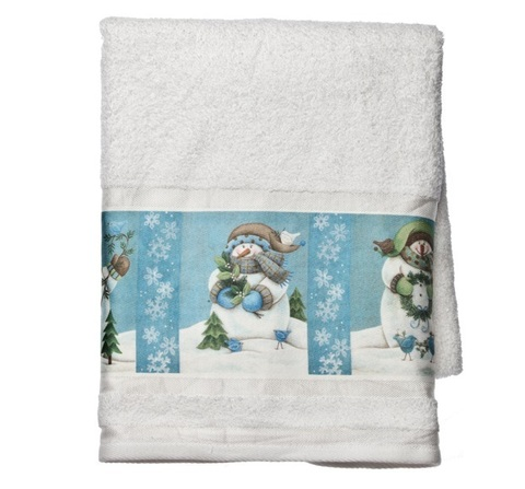 Полотенце 41х76 Blonder Home Blue Snowmen белое