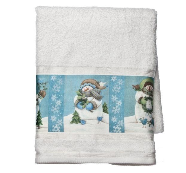 Полотенце 41х76 Blonder Home Blue Snowmen белое
