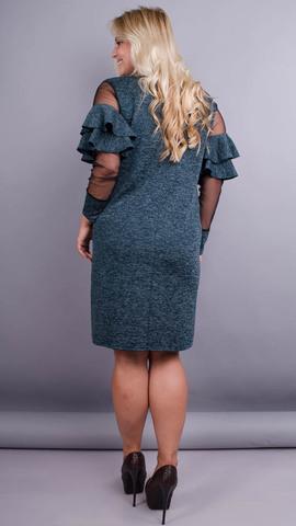 Юнона ангора. Нарядное женское платье плюс сайз. Изумруд.
