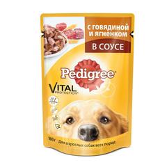 Pedigree пауч для взрослых собак с говядиной и ягненком в соусе 100 г