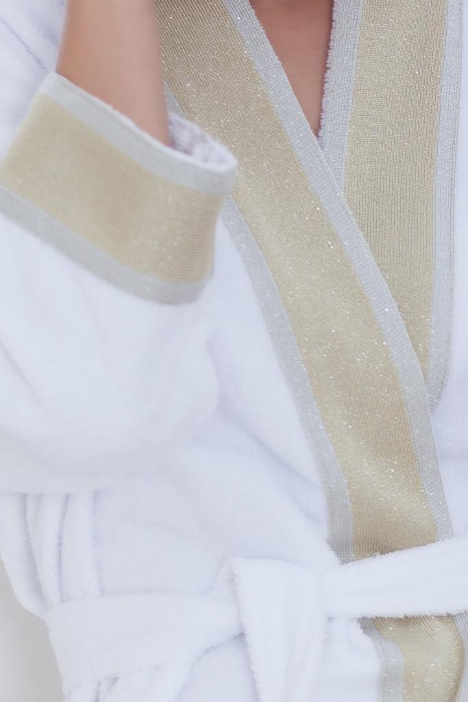 Белый махровый халат с золотой тесьмой Luna di Giorno