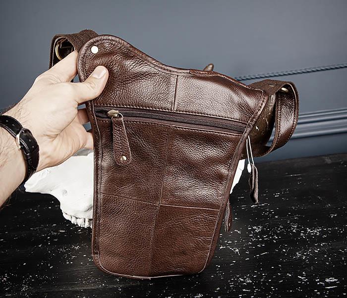 BAG514-2 Набедренная сумка из коричневой натуральной кожи фото 06