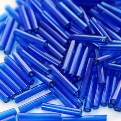 Бисер Preciosa стеклярус 11х2 мм  прозрачный, синий