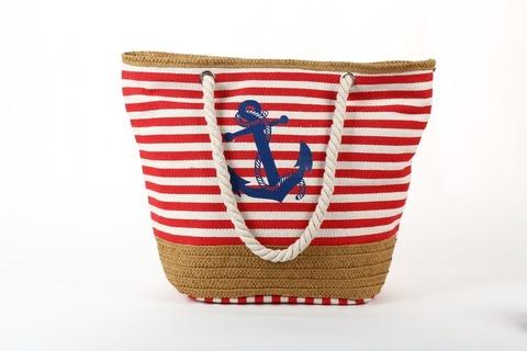 Пляжная сумка с якорем (красная полоса)