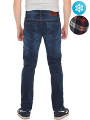 LN856 джинсы мужские утепленные, синие