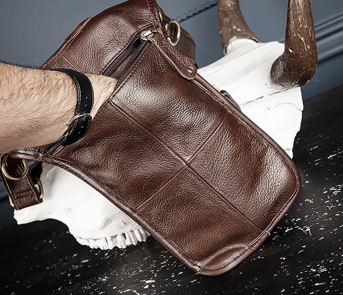 BAG514-2 Набедренная сумка из коричневой натуральной кожи фото 08