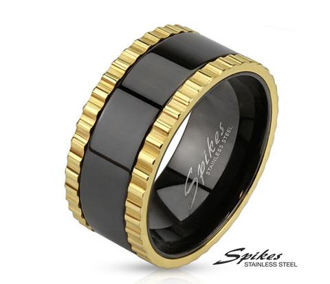 R-M3682 Широкое мужское кольцо &#34Spikes&#34 черное с золотым, сталь