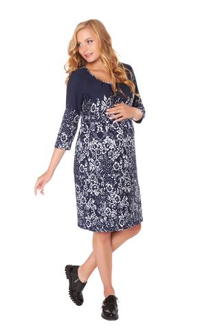 Платье для беременных и кормящих 05708 синий-белый