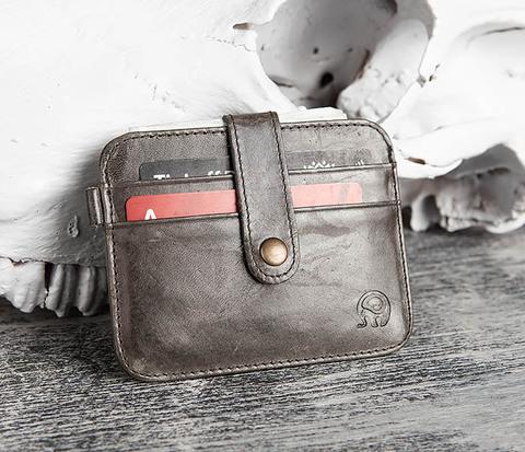 WL243-4 Тонкий кошелек из кожи серого цвета с застежкой