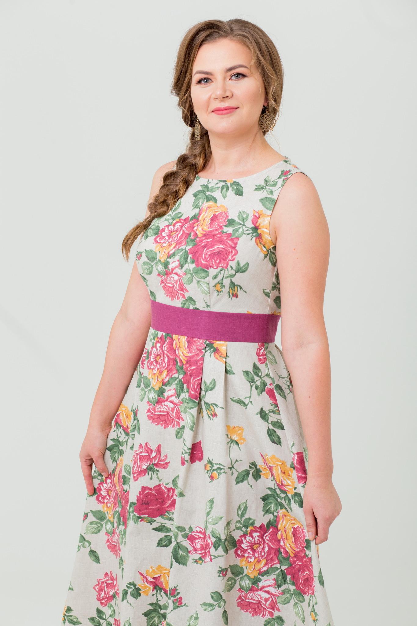 Красивое платье Вальс цветов из льна макси