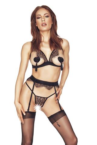 Черный комплект белья Oriah из стрэп-лент с открытой грудью и контактными стрингами