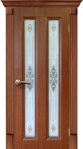 Дверь AIRON Екатерина-2, стекло с рисунком и фьюзингом, цвет тёмный дуб, остекленная