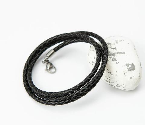 Плетеный шнур на шею из натуральной кожи