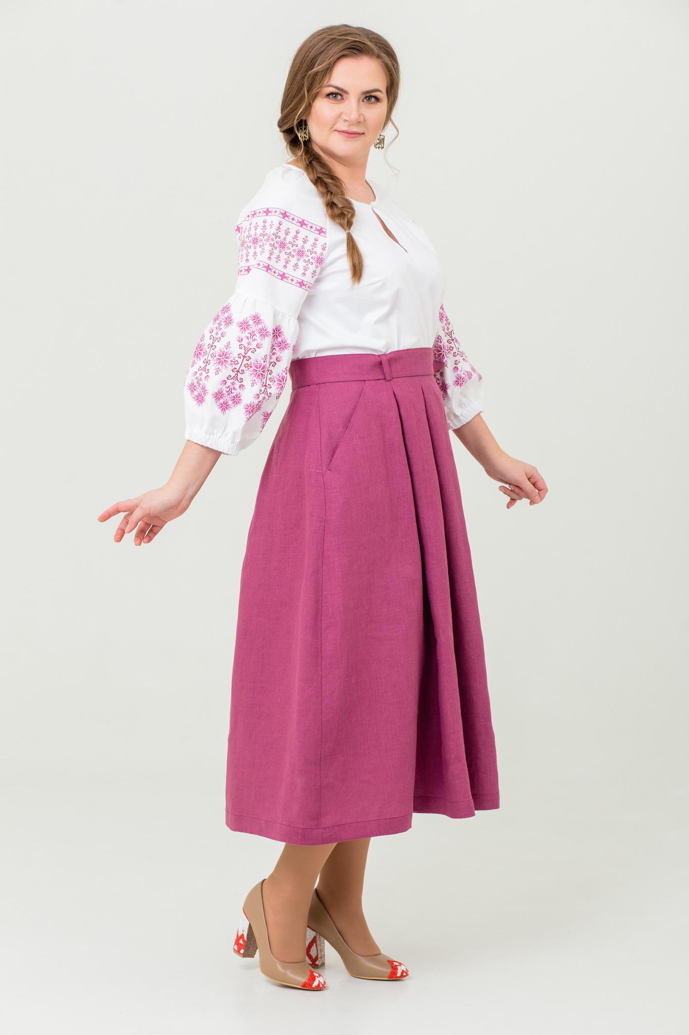 Блуза хлопковая Яблоневый цвет в русском стиле купить