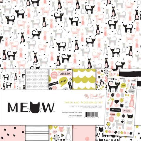 Набор двусторонней бумаги и украшений - Meow от My Mind's Eye -30х30см