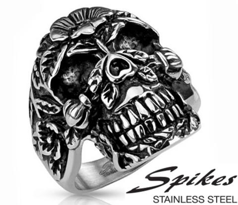 Крупное мужское кольцо перстень с черепом из стали, «Spikes»