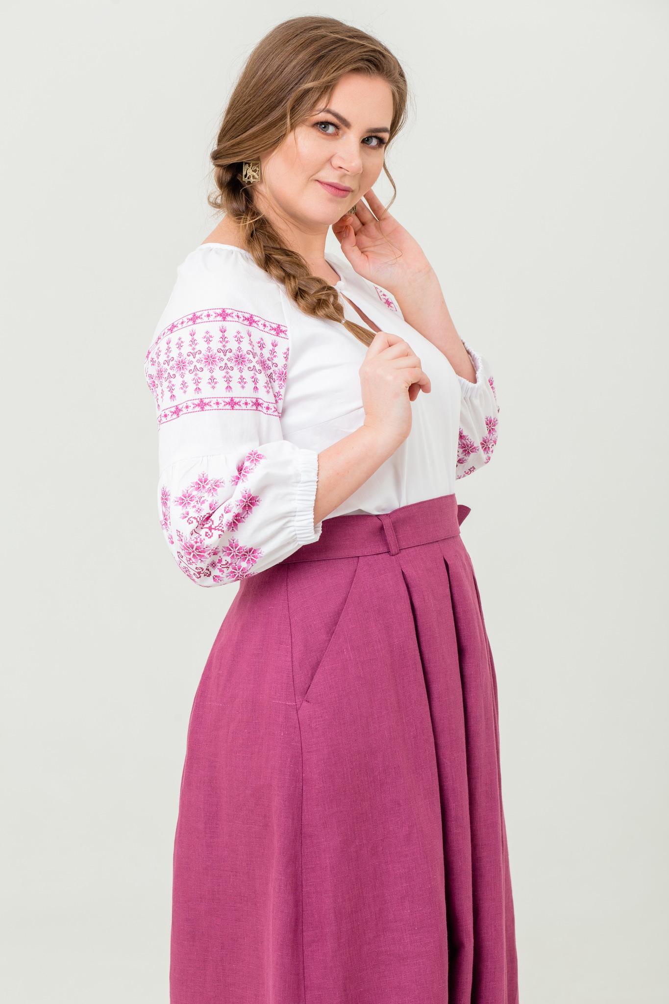 Блуза хлопковая Яблоневый цвет в русском стиле