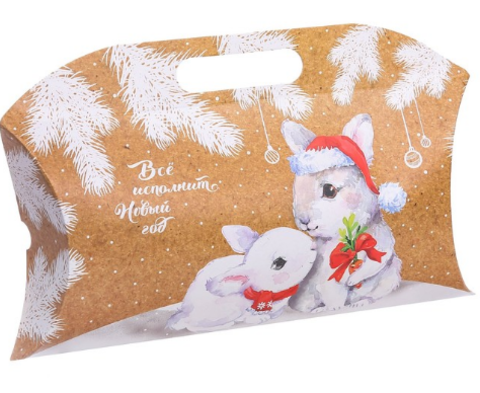 060-0131 Коробка подарочная «Зайчики», 21.5 × 13.5 × 5 см