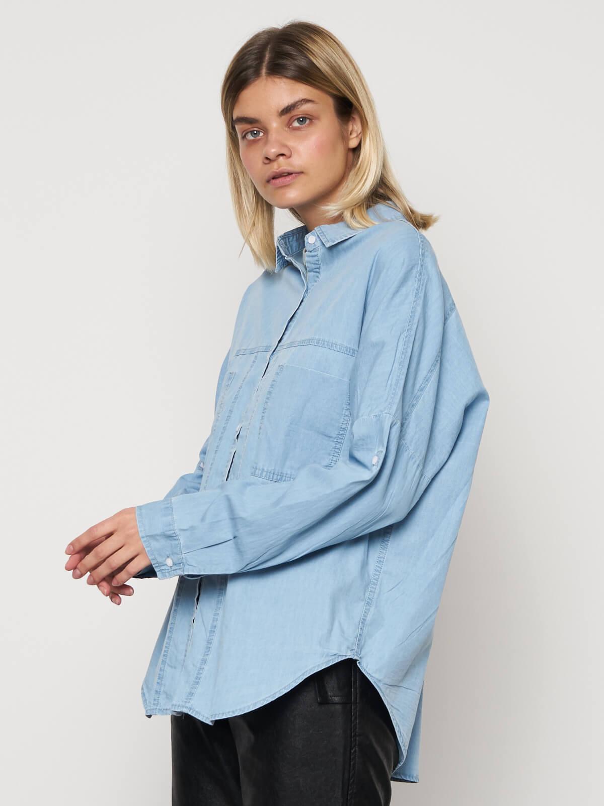 Рубашка джинсовая с карманами