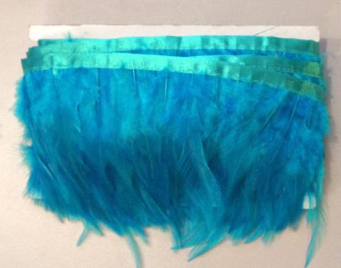 Тесьма  из перьев петуха h- 8-10см., 9 м., бирюзовый