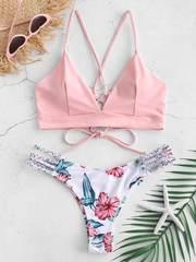 купальник раздельный розовый белый цветы с лямками на шнуровке сзади