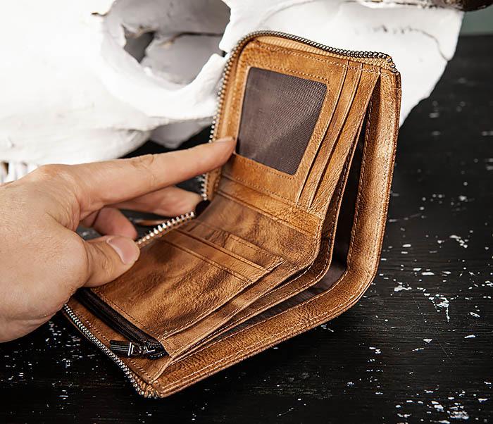 WL331-2 Мужское портмоне из натуральной коричневой кожи фото 07